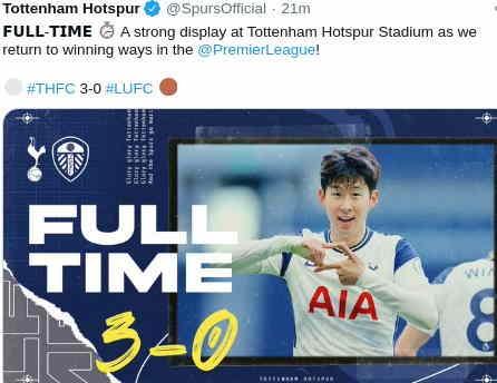 Hasil Tottenham Hotspur vs Leeds United