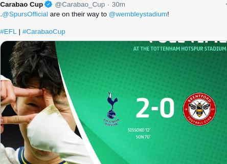 Hasil Tottenham vs Brentford