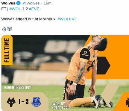 Hasil Wolves vs Everton
