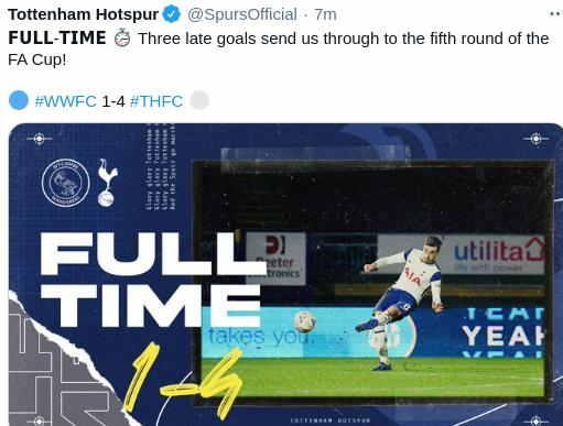 Hasil Wycombe vs Tottenham