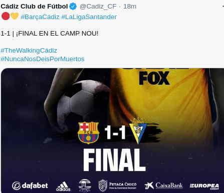 Hasil Barcelona vs Cadiz 1-1