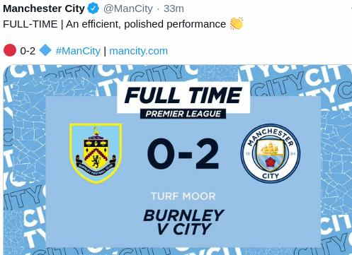 Hasil Burnley vs Manchester City Skor 0-2