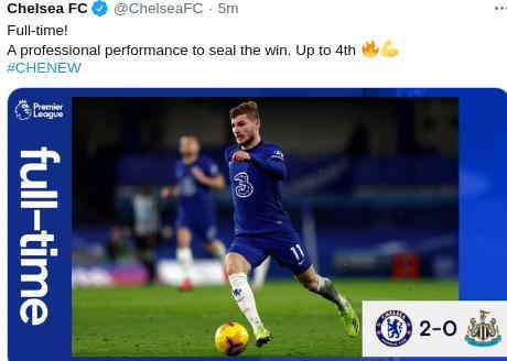 Chelsea vs Newcastle United 2-0