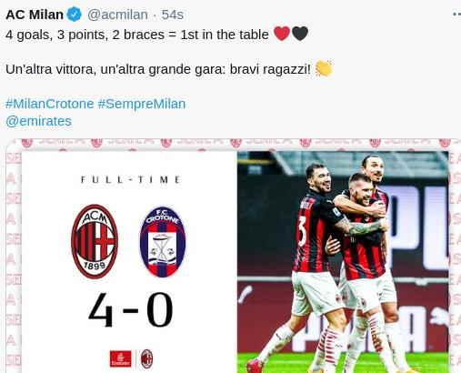 Hasil AC Milan vs Crotone 4-0