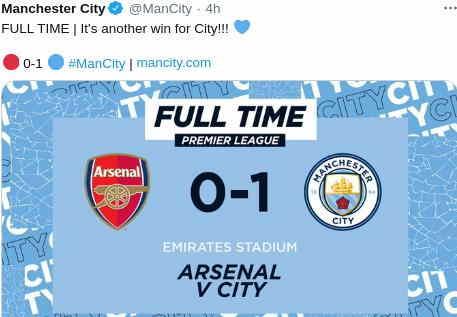 Hasil Arsenal vs Manchester city 0-1