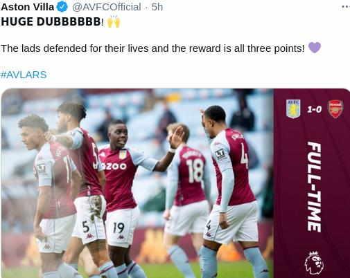 Hasil Aston Villa vs Arsenal