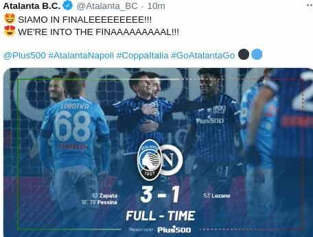 Hasil Atalanta vs Napoli Skor 3-1