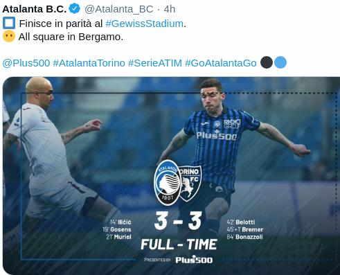 Hasil Atalanta vs Torino