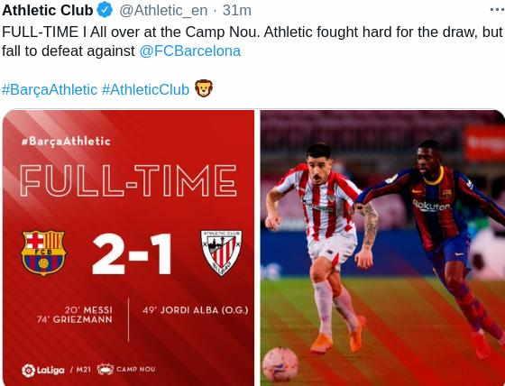 Hasil Barcelona vs Athletic Bilbao