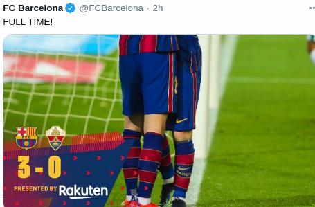 Hasil Barcelona vs Elche