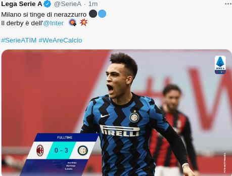 Hasil Derby Milan 21 Februari 2021 skor 0-3