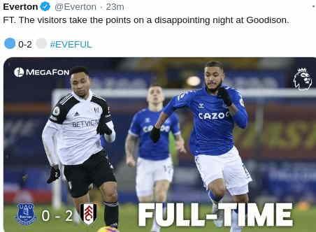 Hasil Everton vs Fulham