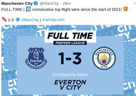 Hasil Everton vs Manchester City 1-3