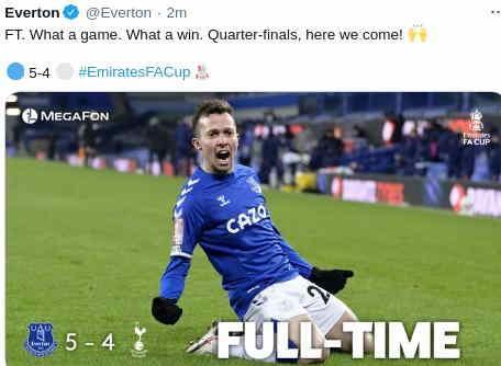 Hasil Everton vs Tottenham Hotspur skor 5-4