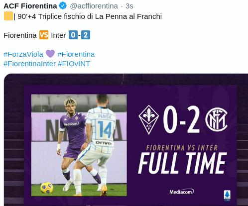 Hasil Fiorentina vs Inter Milan 0-2