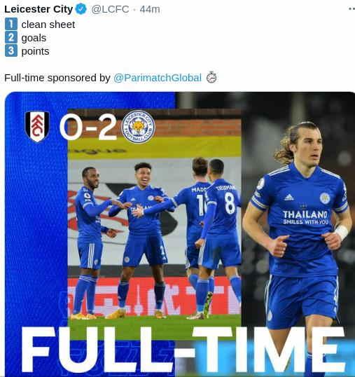 Hasil Fulham vs Leicester City 4 Februari 2021