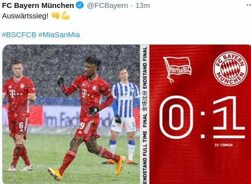 Hasil Hertha Berlin vs Bayern Munchen 6 Feb 2021