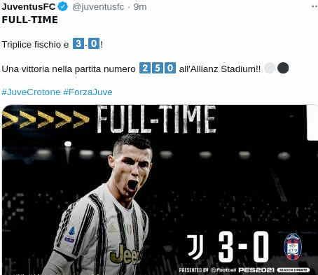 Hasil Juventus vs Crotone 3-0