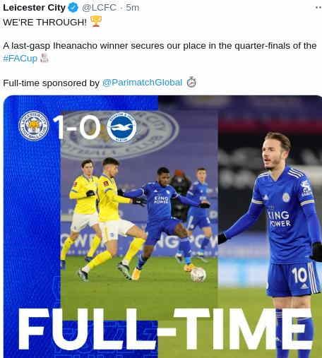 Hasil Leicester City vs Brighton skor 1-0