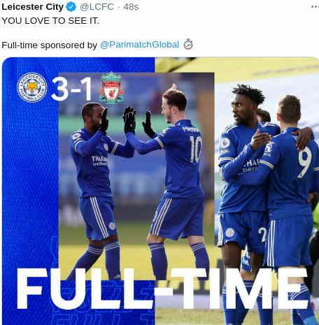 Hasil Leicester City vs Liverpool skor 3-1