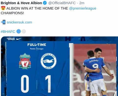 Hasil Liverpool vs Brighton 0-1