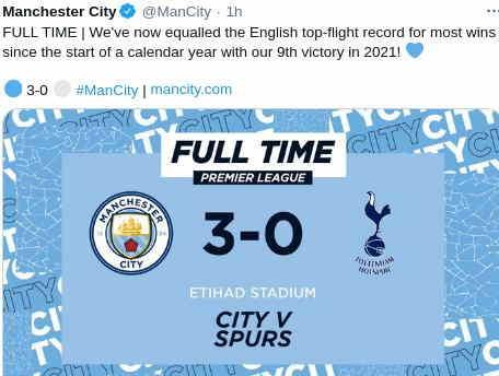 Hasil Manchester City vs Tottenham Hotspur