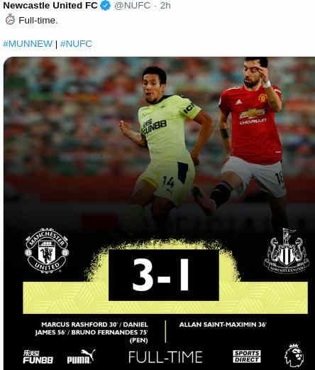 Hasil Manchester United vs Newcastle United