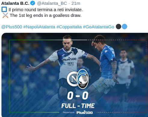 Hasil Napoli vs Atalanta leg 1 Semifinal Coppa Italia 2020-2021