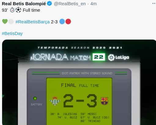 Hasil Real Betis vs Barcelona Skor 2-3