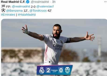 Hasil Real Madrid vs Valencia 2-0