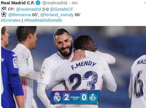 Hasil Real madrid vs Getafe
