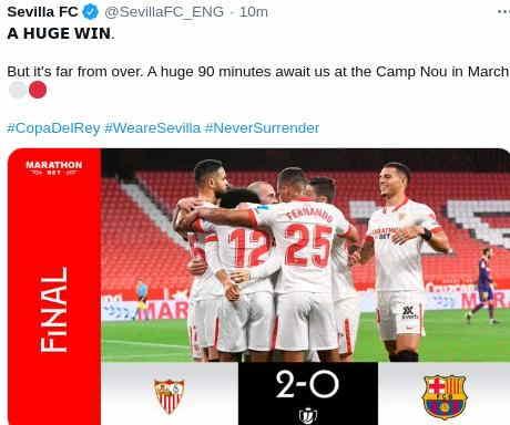 Hasil Sevilla vs barcelona skor 2-0