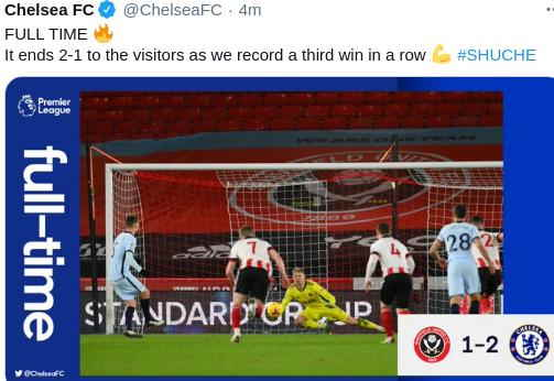Hasil Sheffield United vs Chelsea Skor akhir 1-2