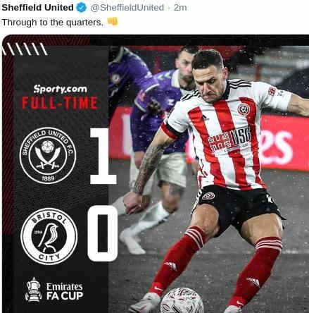 Hasil Sheffield United vs Bristol City skor akhir 1-0