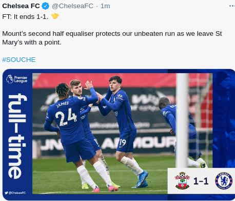 Hasil Southampton vs Chelsea 1-1