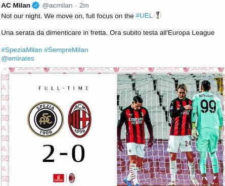 Hasil Spezia vs AC Milan 2-0