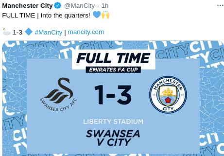 Hasil Swansea vs Manchester City skor akhir 1-3
