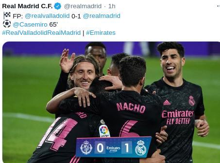 Hasil Valladolid vs Real Madrid 0-1