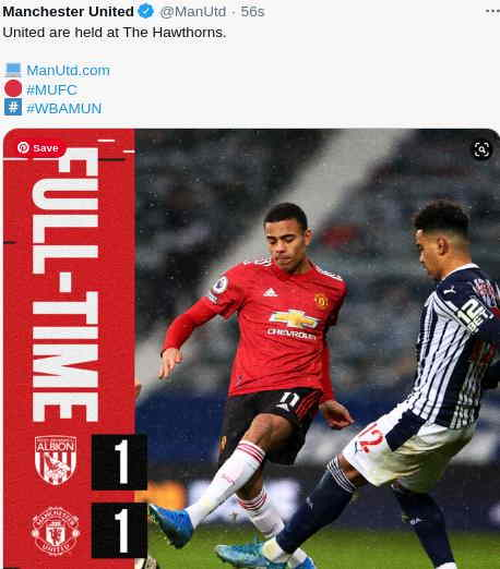 Hasil West Brom vs Manchester United 1-1