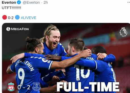 Hasil Liverpool vs Everton skor 0-2