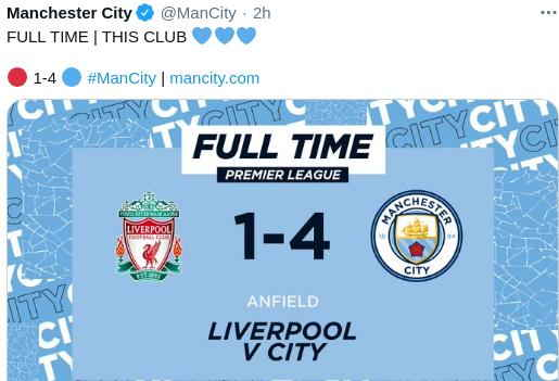 Liverpool vs Man Ciy 1-4
