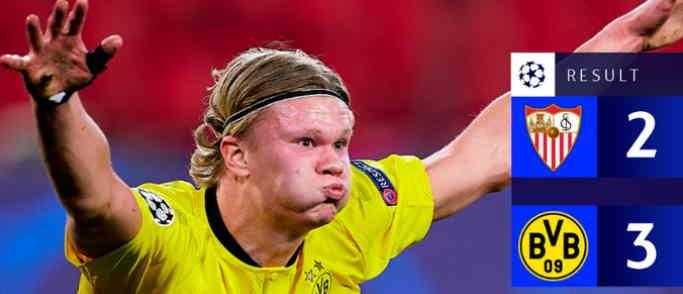 Hasil Sevilla vs Borussia Dortmund Skor Akhir 2-3