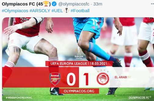 Arsenal vs Olympiakos skor akhir