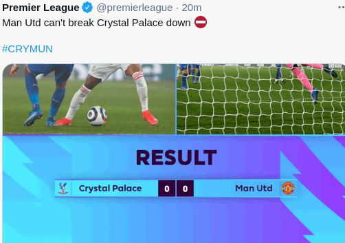 Hasil Crystal Palace vs Manchester United