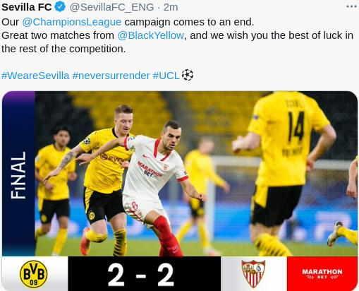 Hasil Dortmund vs Sevilla 2-2