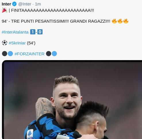 Hasil Inter Milan vs Atalanta