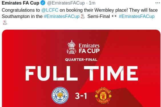 Hasil Leicester vs MU FA Cup tadi malam