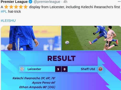 Hasil Leicester vs Sheffield Skor 5-0