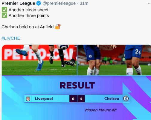 Hasil Liverpool vs Chelsea Tadi Malam