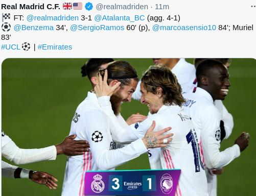 Hasil Real Madrid vs Atalanta skor akhir 3-1